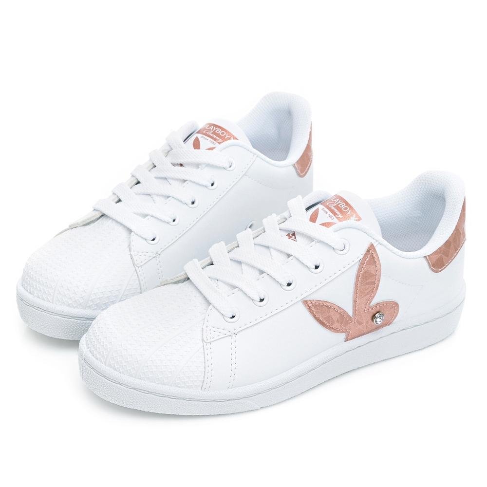 PLAYBOY 簡約兔頭休閒貝殼鞋2.0-白玫瑰金-Y67261J