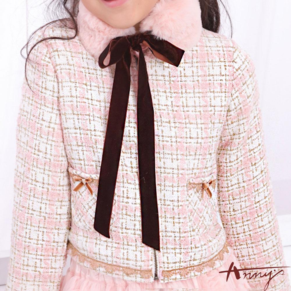 Annys訂製淑女小香風雙口袋蝴蝶結蕾絲外套*6294