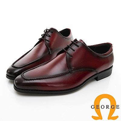 【Amber】商務時尚 圓頭立體楦頭紳士皮鞋-酒紅色