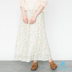 earth music 復古花朵印花ALINE雪紡長裙