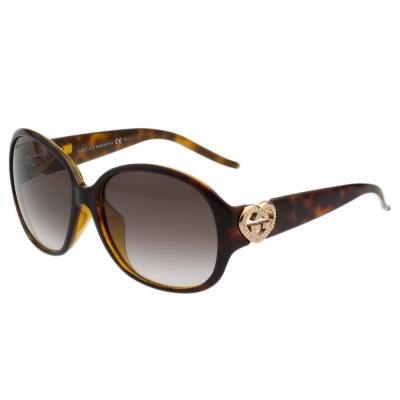 GUCCI- 圓框愛心水鑽 太陽眼鏡 (琥珀色)