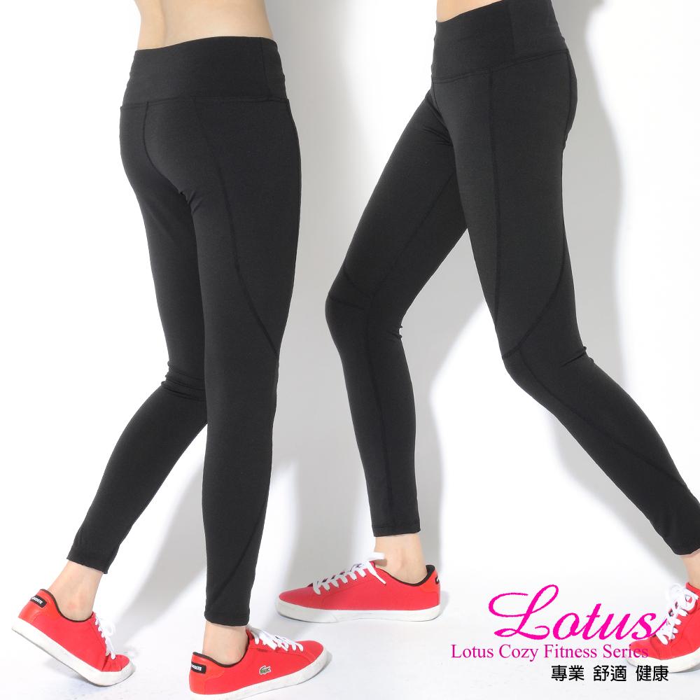 運動褲 顯瘦曲線舒適透氣運動長褲-個性黑(M-XL) LOTUS