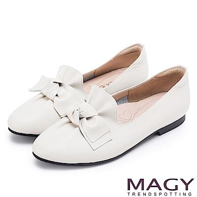 MAGY 樂活甜美 扭結蝴蝶結素面牛皮平底鞋-白色