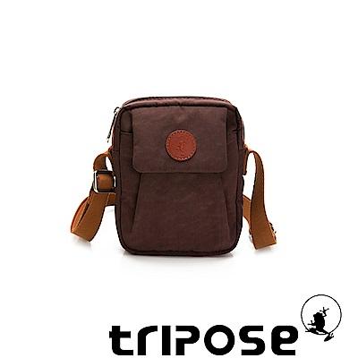 tripose PAN微皺尼龍直式斜背包-可可咖
