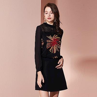【YIDIE衣蝶】小高領網布拼接假兩件洋裝