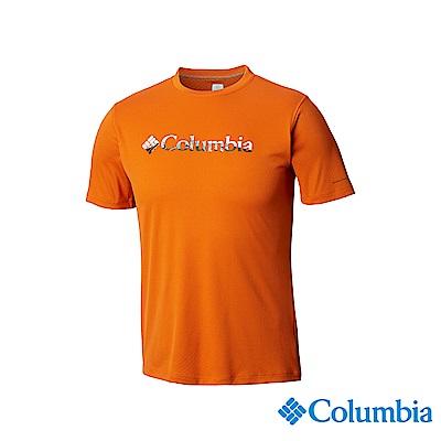 Columbia哥倫比亞男款-UPF30涼感快排短袖上衣-橘色UAE64630OG