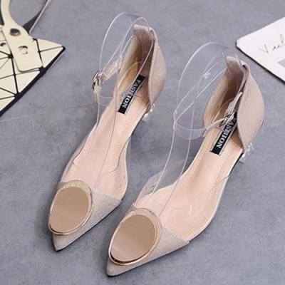 KEITH-WILL時尚鞋館 韓國氣質輕盈舒適水晶尖頭跟鞋-杏