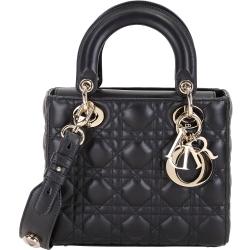 DIOR My Lady Dior 黑色經典藤格紋與幸運徽章揹帶提包(金色金屬)