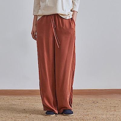 旅途原品_不停_原創設計銅氨絲寬鬆直筒休閒褲-土紅/藏藍