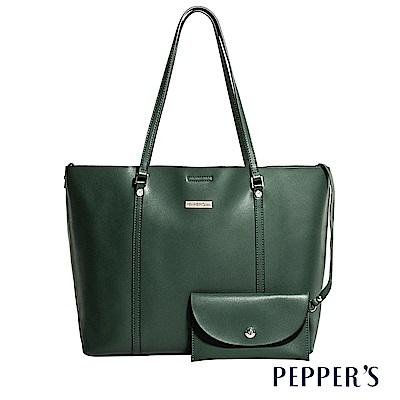 PEPPER`S Audrey 牛皮托特包 - 墨綠