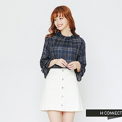 H:CONNECT 韓國品牌 女裝-小立領格紋造型上衣-藍