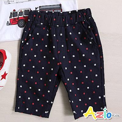Azio Kids 短褲 紅白交叉印花雙口袋鬆緊短褲(深藍 )