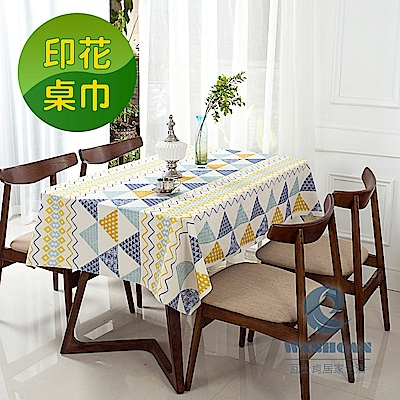 Washcan瓦士肯 清新印花桌巾-鄉村秘境 120x120cm