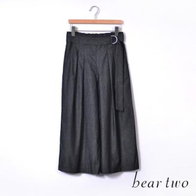 bear two- 腰間扣環高棉寬褲-黑