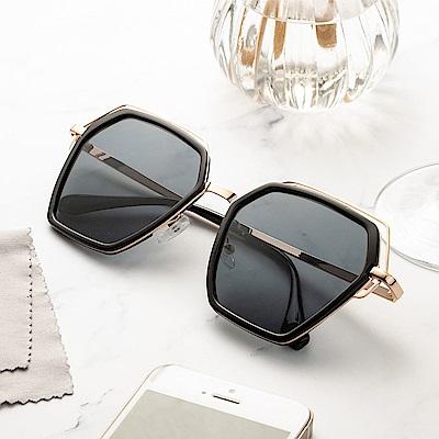 尚佰家 寶麗萊鏡片時尚造型抗UV太陽眼鏡-黑框黑色(882A)