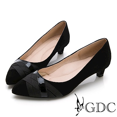 GDC-質感羊絨交叉緞帶設計尖頭中跟鞋-黑色
