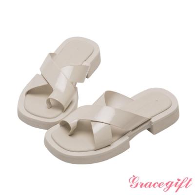 Grace gift-寬帶套趾厚底涼拖鞋 米白漆