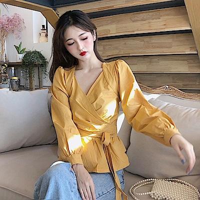 DABI 韓國風系帶設計感V領襯衫長袖上衣