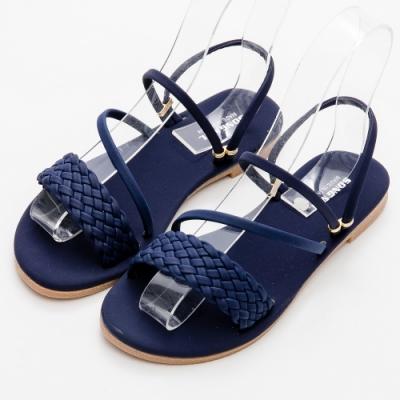 River&Moon涼鞋 台灣製一字寬版編織2WAY平底涼拖鞋 藍