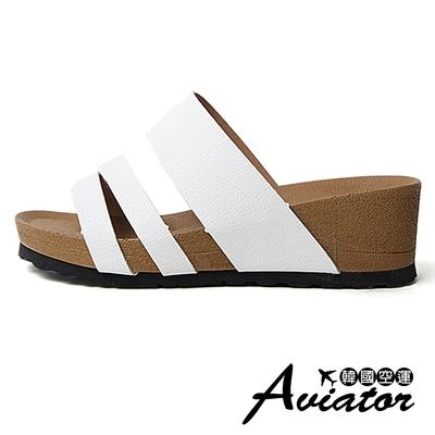 Aviator韓國空運-質感簡約皮革寬帶造型線條楔型涼拖鞋-(白)預+現
