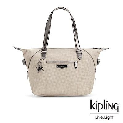 Kipling 氣質淺褐壓紋手提側背包-ART S
