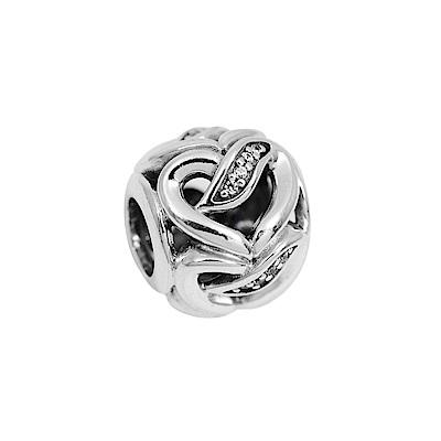 Pandora 潘朵拉 圓形鑲鋯愛情緞帶 純銀墜飾 串珠