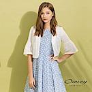 OUWEY歐薇 喇叭袖造型縷空刺繡小外套(白)