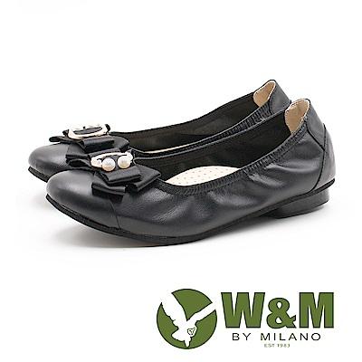 W&M 淑女蝴蝶結 牛皮圓頭平底鞋 女鞋-黑(另有藍)