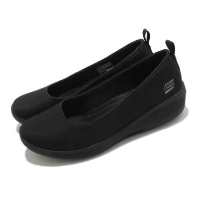 Skechers 休閒鞋 Arya-Daily Luster 女鞋 楔形 低跟 增高 通勤 逛街 泡棉鞋墊 黑 104114BBK