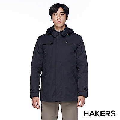 【HAKERS】男款 三合一城市防水羽絨外套(黑色)