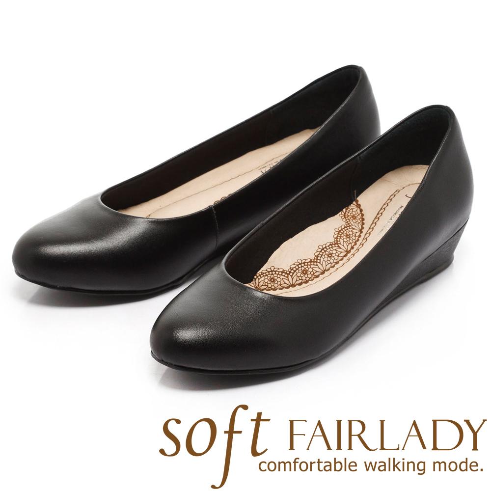 Fair Lady 超級上班者聯盟 粉領打造坡跟鞋 黑