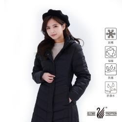 【遊遍天下】女款長版防風防潑水連帽羽絨外套GJ22026黑色