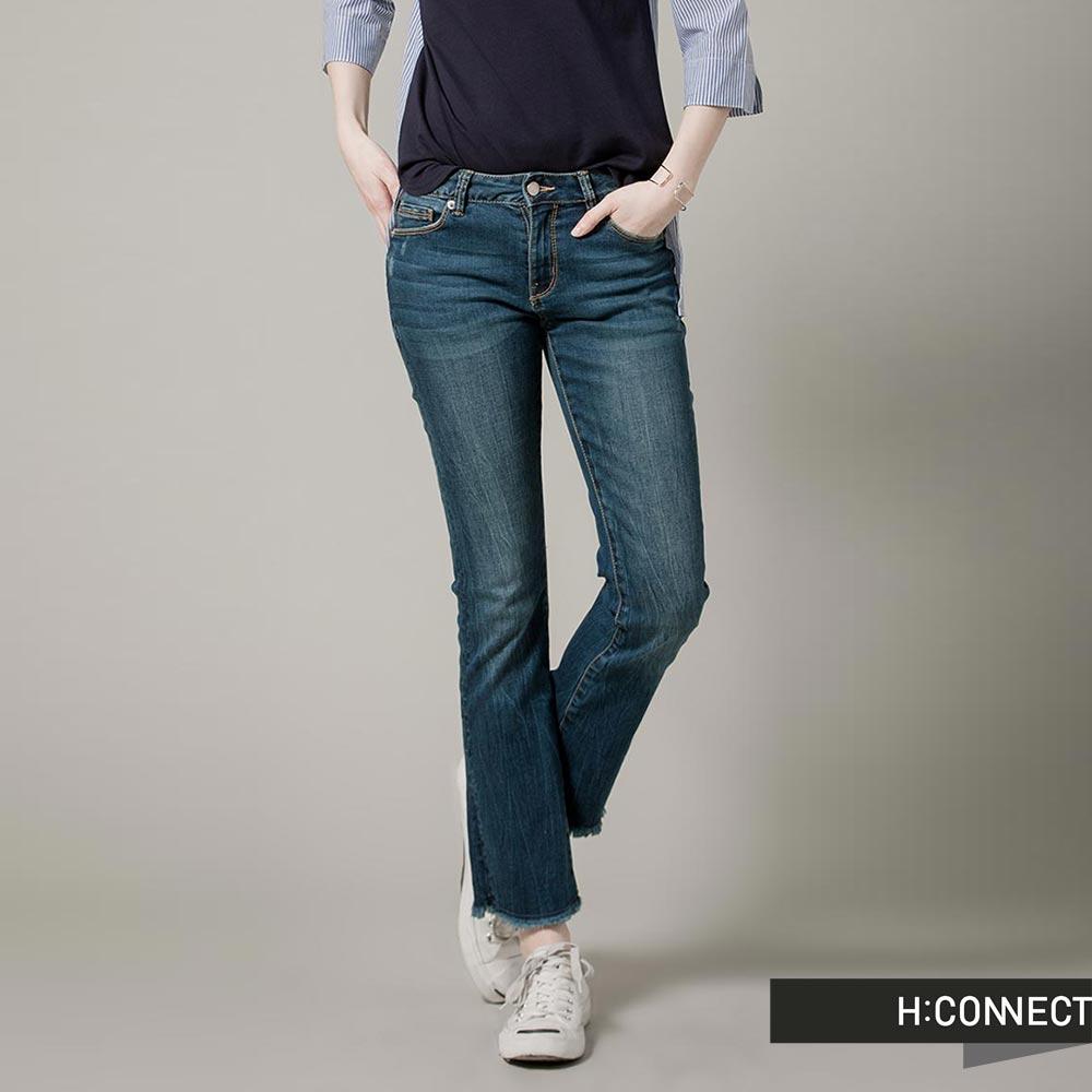 H:CONNECT 韓國品牌 女裝 - 率性小破損流蘇丹寧褲-深藍(快)