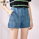 SEMIR森馬-復古口袋造型水洗丹寧牛仔短褲-女(2色)