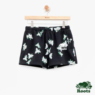 女裝Roots 延齡草滿版印花短褲-黑