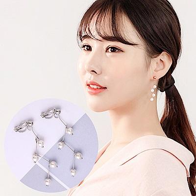 梨花HaNA 無耳洞韓國折線珍珠銀色耳環夾式