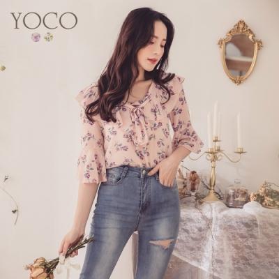 東京著衣-YOCO 約會甜心荷葉邊印花雪紡上衣-S.M.L(共二色)