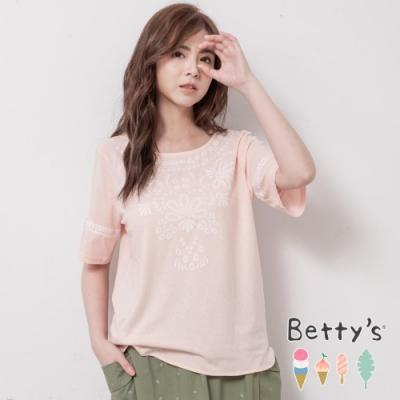 betty's貝蒂思 氣質印花袖綴蕾絲上衣(淺粉)