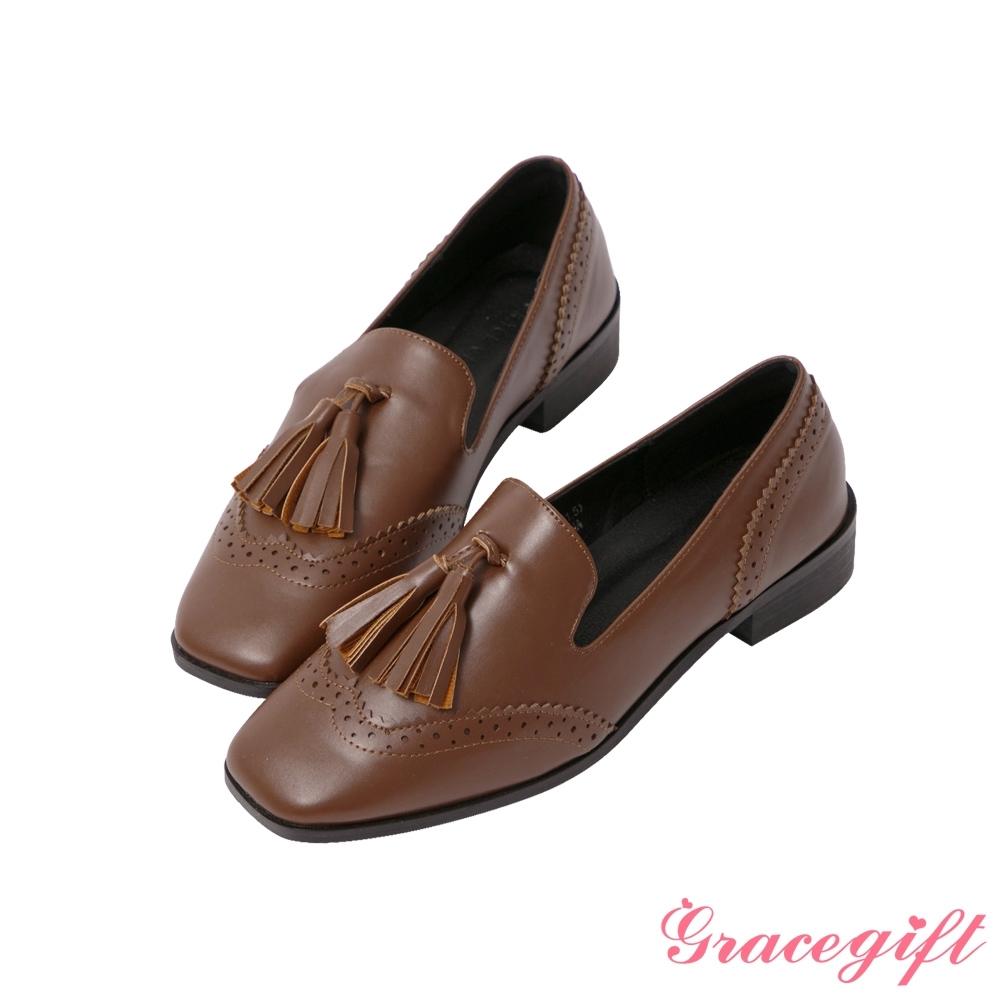 Grace gift-立體流蘇牛津低跟樂福鞋 棕