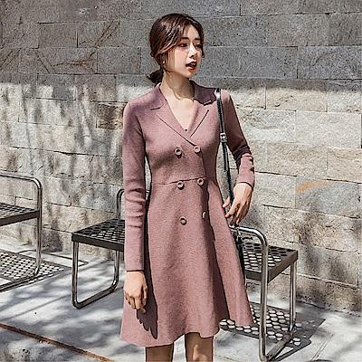 DABI 韓系復古雙排扣長袖針織修身顯瘦長袖洋裝