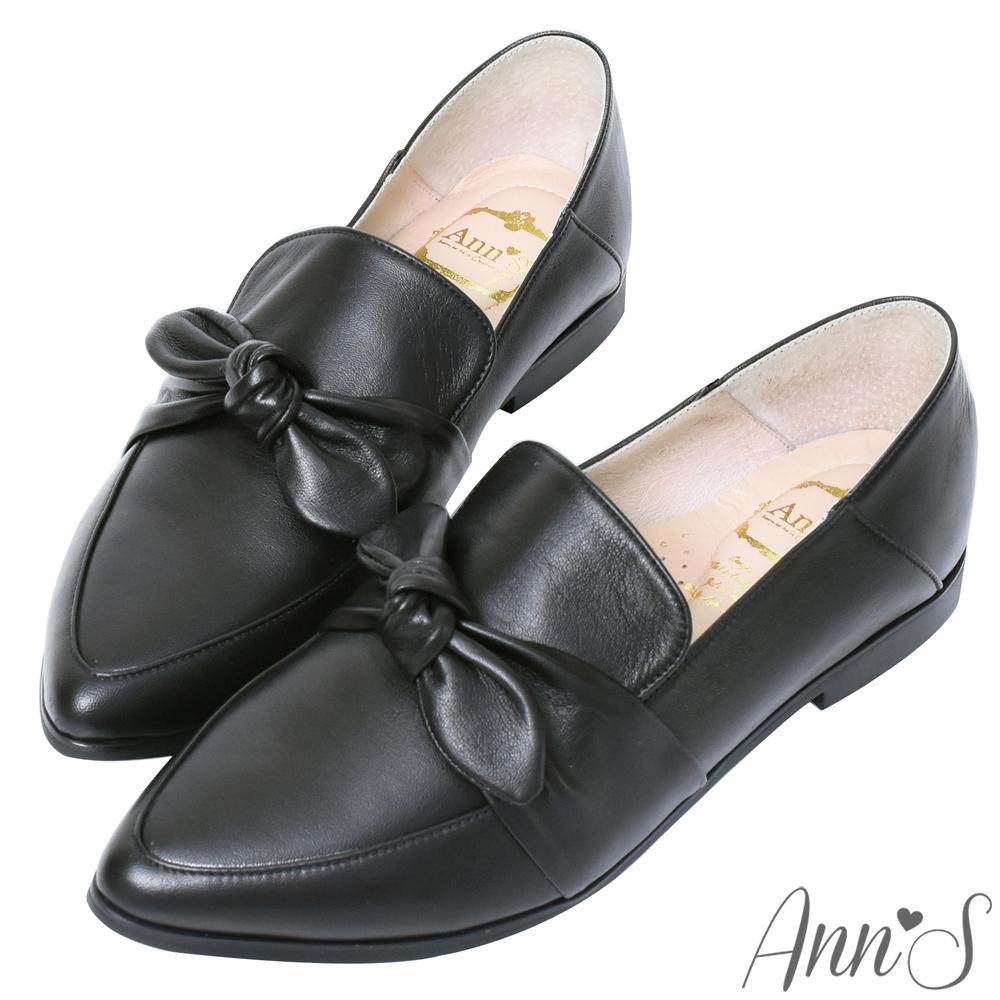 Ann'S超柔軟綿羊皮-可拆立體蝴蝶結兩穿穆勒尖頭紳士鞋-黑