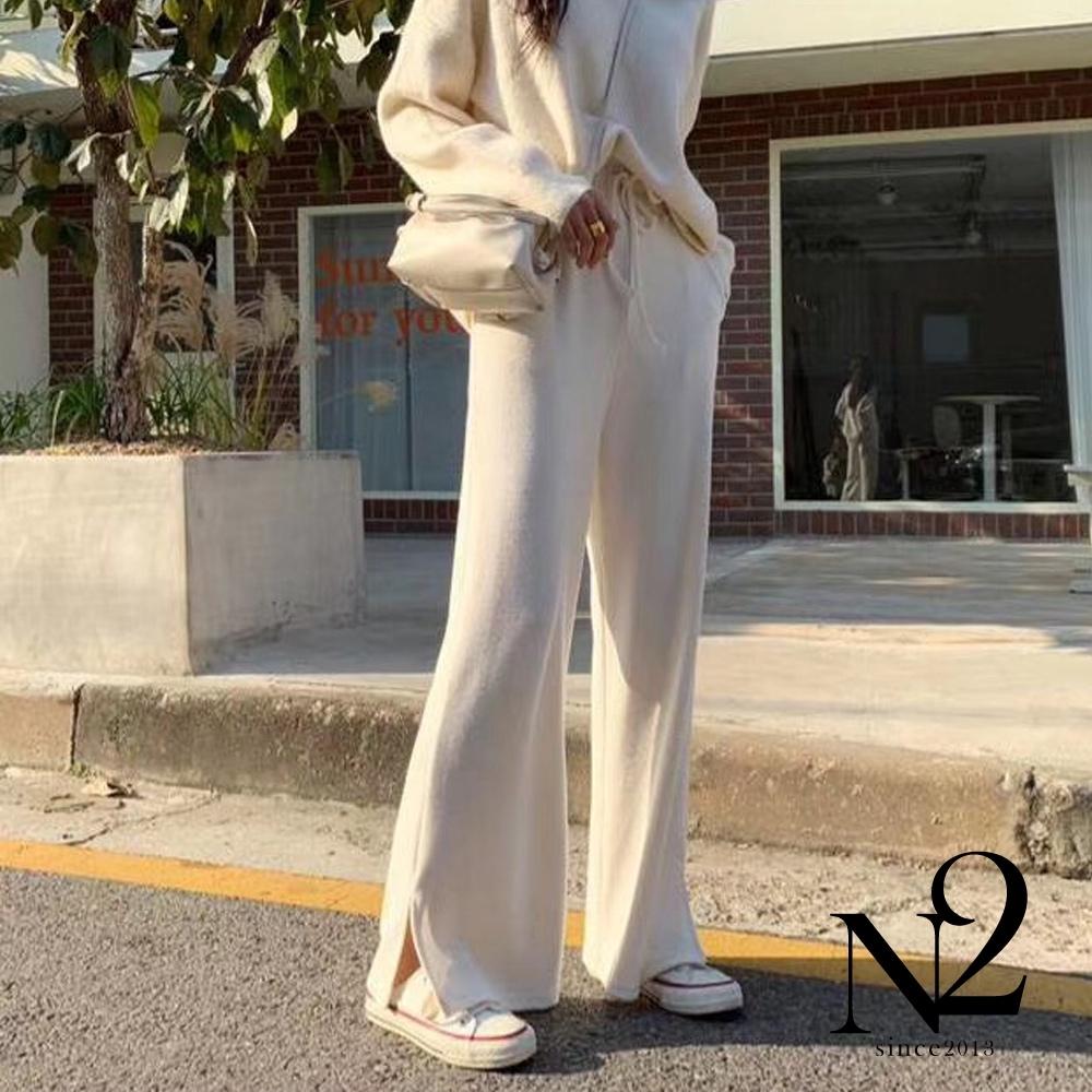 下著 正韓素面棉質側開衩休閒長褲(白)N2