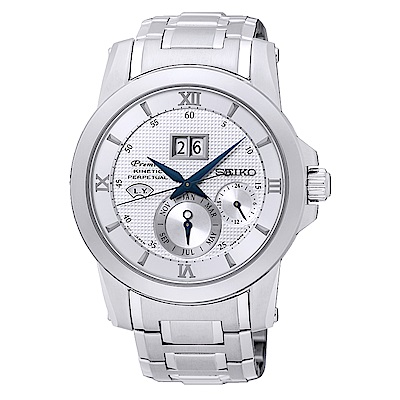 SEIKO 精工人動電能自動追時萬年曆手錶SNP133J1-銀/41.5mm