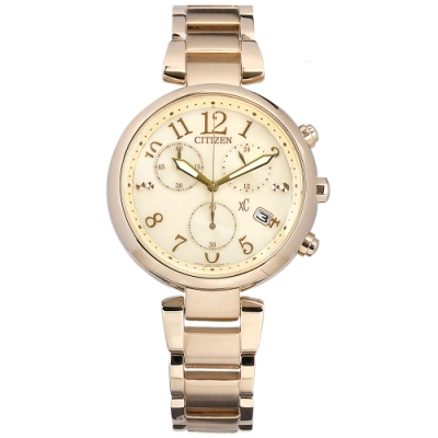 CITIZEN  XC 光動能 日本製造 日期 不鏽鋼手錶 (FB1452-58A)-銀白x鍍玫瑰金/35mm