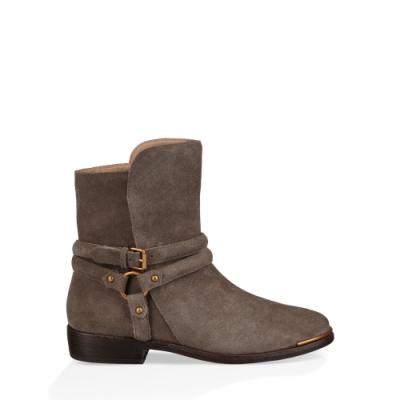 UGG短靴 Kelby金屬扣帶短靴 絨面及踝低跟皮靴