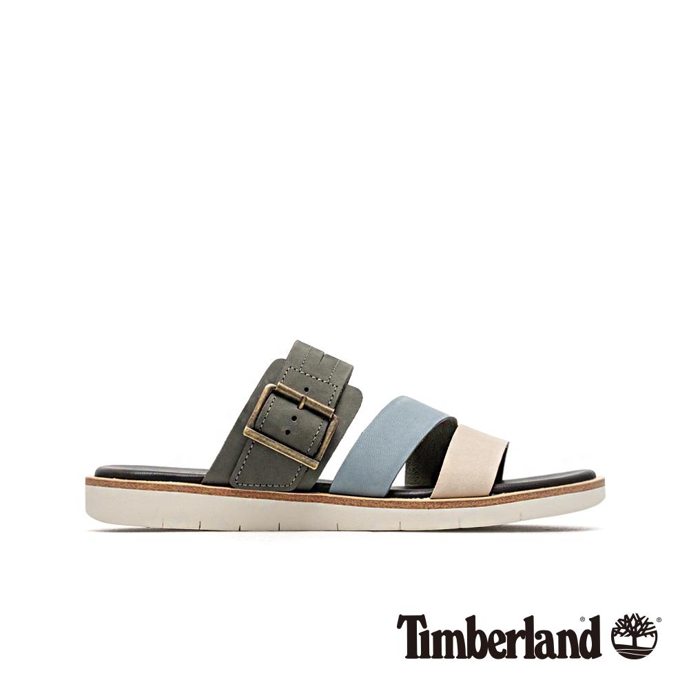 Timberland 女款中灰色撞色休閒露趾拖鞋 A1X7C