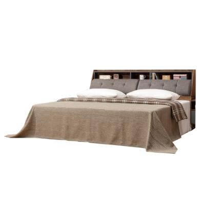 文創集 波德5尺亞麻布雙人床台組(床頭箱+柚木色床底+不含床墊)-154x218x99cm免組
