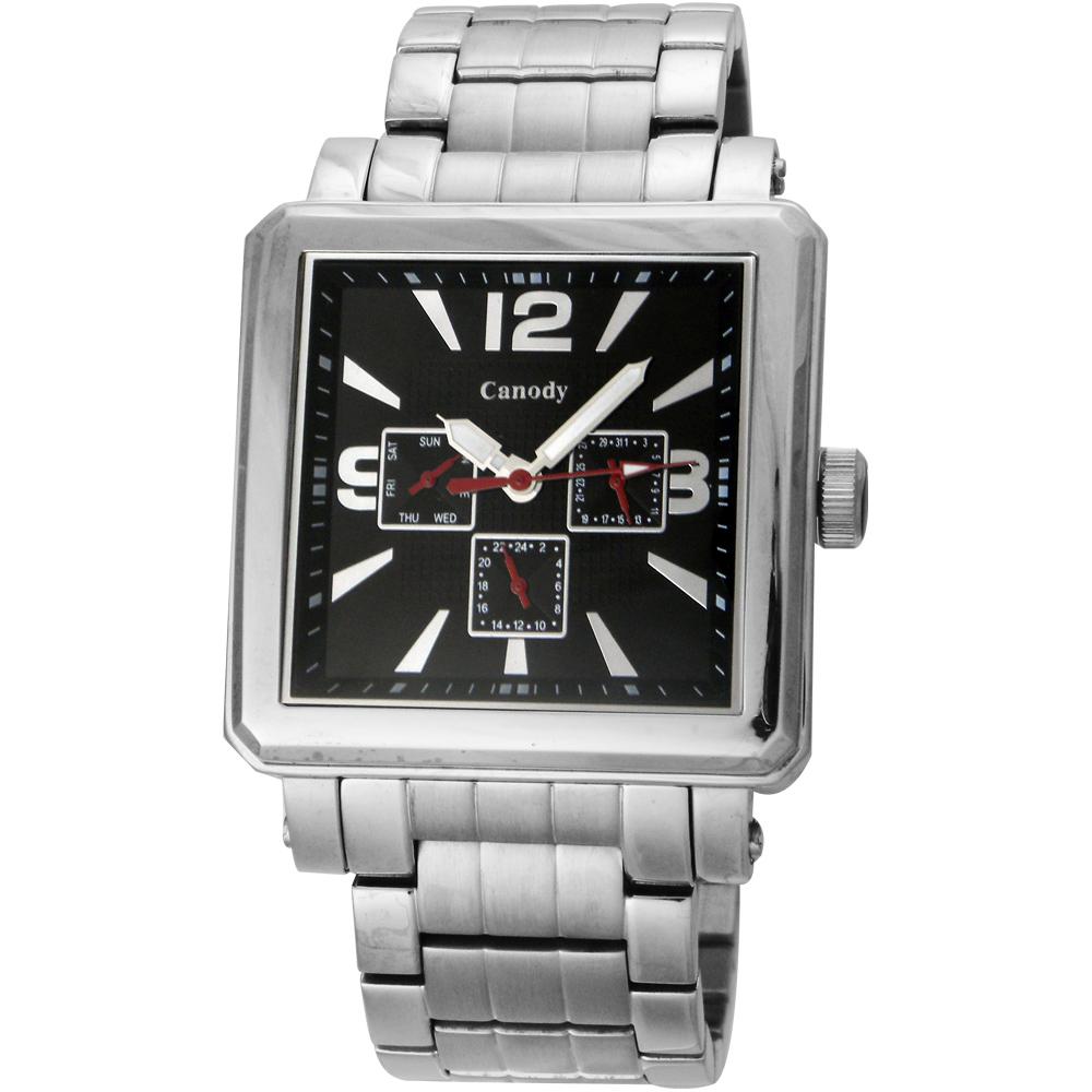 Canody 成熟個性三眼日期手錶(CM5631-A)-銀x黑/41mm @ Y!購物