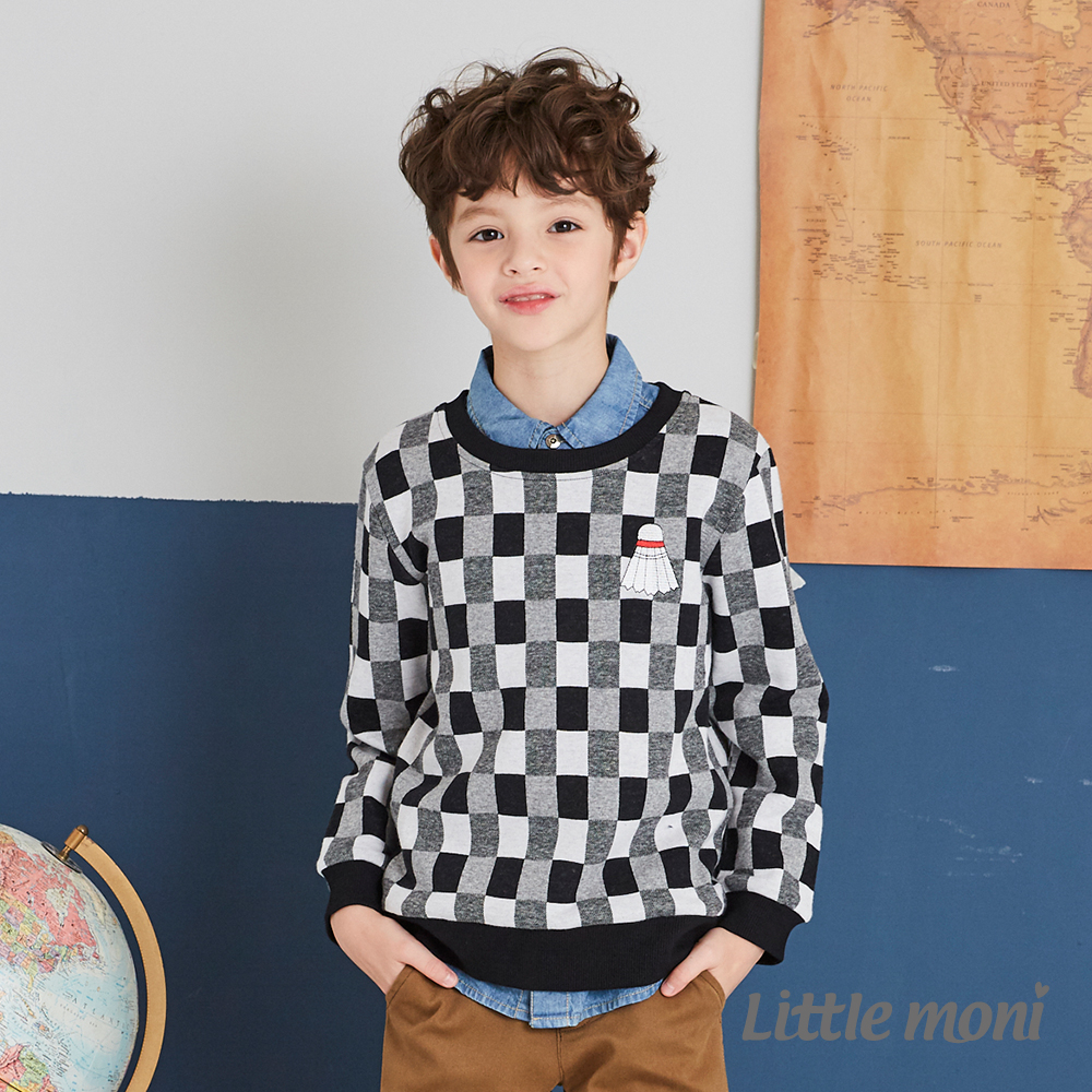 Little moni 圓領格紋上衣(共2色)