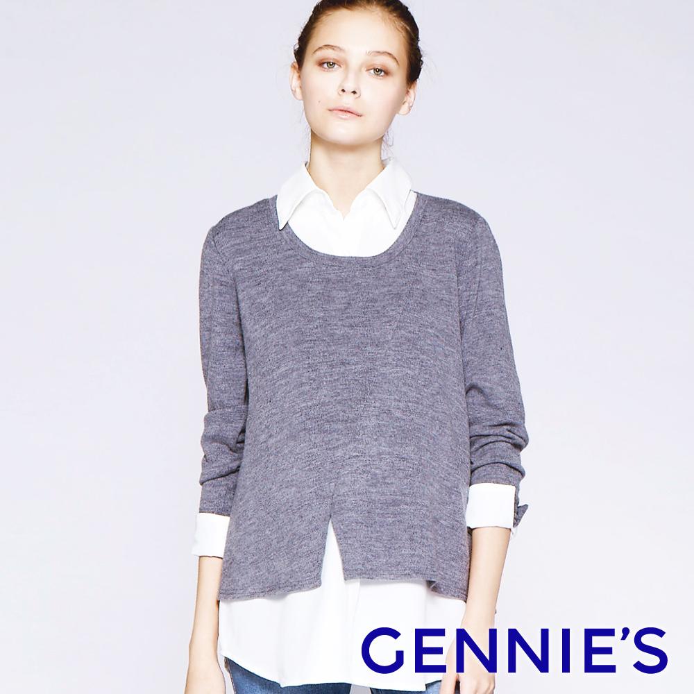 Gennies專櫃-素面襯衫哺乳上衣-灰(T3E35)